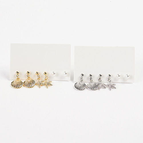 1047409 - <ER1881_CH18> [6Piece 1set] Shell Earrings