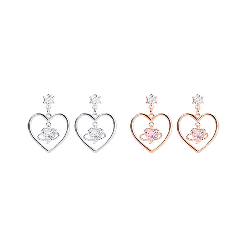 1047422 - <ER1888_DB16> [Silver Post] Airy heart earrings
