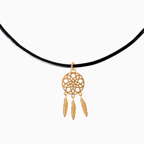 1045593 - <NE400_BA00> Dreamcatcher choker leather necklace
