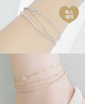 1045870 - <JS26_HB10> [Same Day Shipping] [bracelet + anklet] Rosemary cubic set