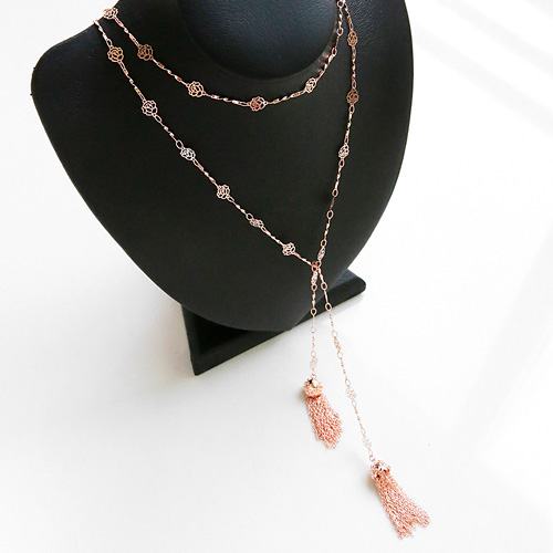 1046211 - <NE440_BA17> Rose chain tassel long necklace