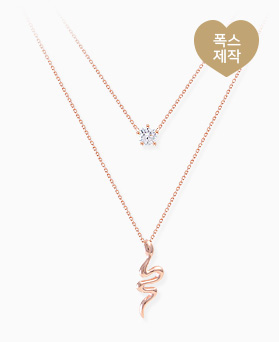 1046317 - <NE446_BE00> [Same-day shipping] [Silver] snake Ann cubic necklace