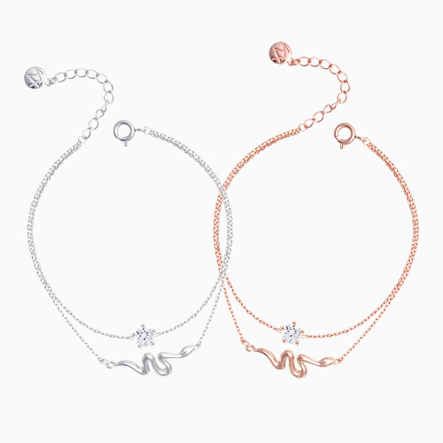1046318 - <BC708_BE00> [Same day shipping] [Silver] snake Ann cubic bracelet