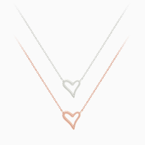 1046482 - <NE461_BH00> [TVN hundreds of star sponsors falling from the sky] [Same day delivery] [Silver] Downing heart necklace