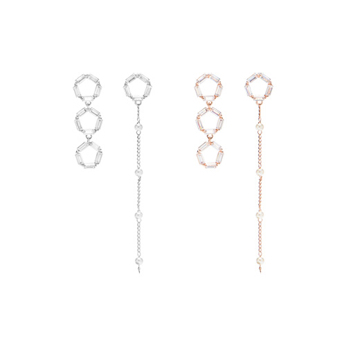 1047479 - [Silver Post] lamia crystal unbalanced earrings