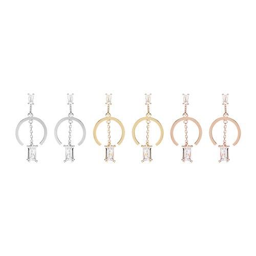 1047487 - <ER1906_DA08> [Silver] オ ー ベ line cubic earrings