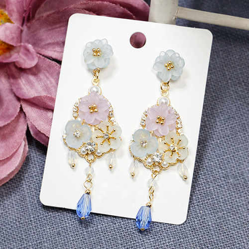 1047603 - <ER1929_DK02> [clip type] Shalie Flower drop earrings