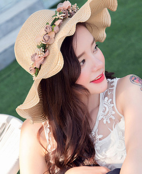 1047636 - <FI132_S> Ruffle Flower floppy hat