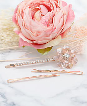 1047648 - <HA673_FH07> [3Piece 1set] Katie crystal Flower hairpin