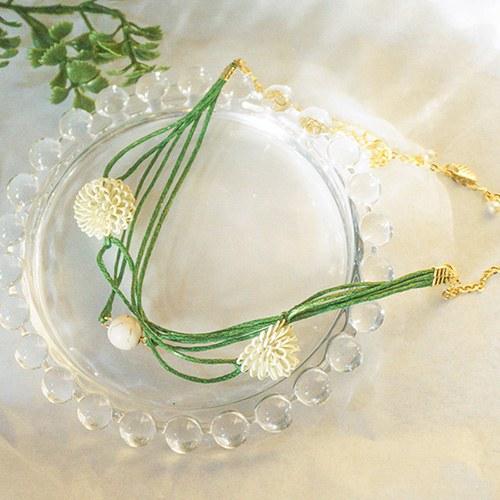 1047651 - <BC758_HA07> [handmade] green Flower bracelet