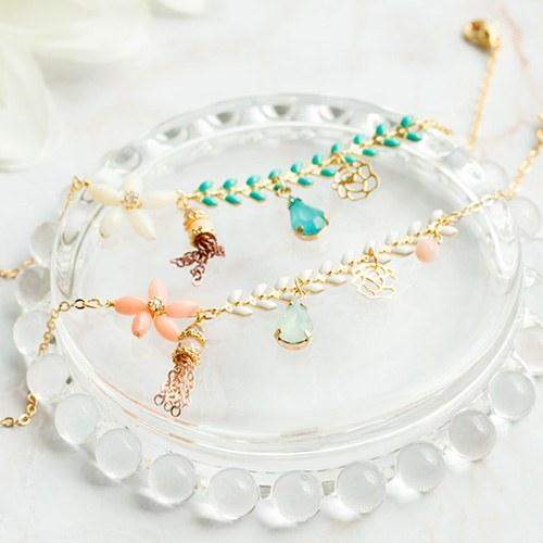 1047659 - <BC757_HB07> Bali Flower crystal bracelet