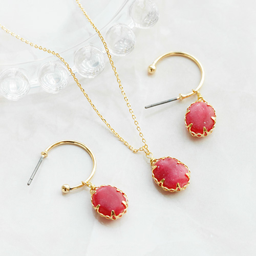1047676 - <JS320_IG05> [earrings + necklace] fine gemstone set