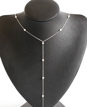 1047696 - <NE534_BF02> [Silver] pearl line long necklace