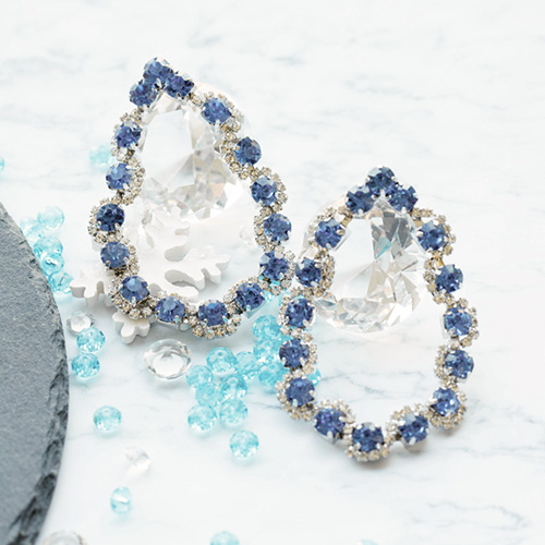 1047722 - <ER1948_CE17> Champagne crystal earrings