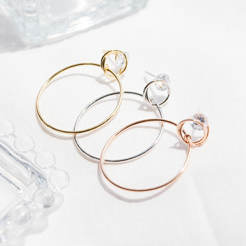 1047749 - <ER1961_CE18> crystal circle drop earrings