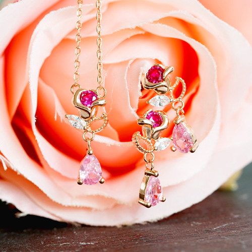 1047753 - <JS326_IF09> [earrings + necklace] [Silver Post] mari rose set