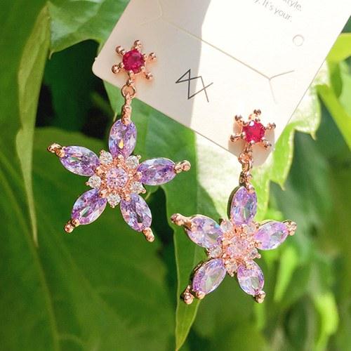 1047820 - <ER1956_DH03> [clip type] fall crystal Flower earrings