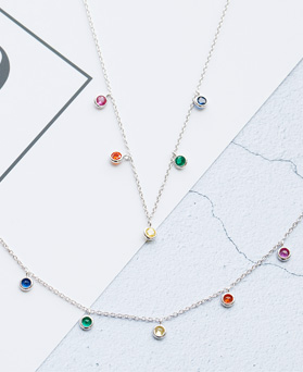 1047827 - <JS327_IF10> [necklace + anklet] rainbow crystal set