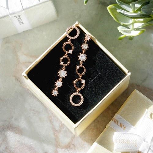 1047840 - <ER1973_DH24> [Silver Post] Shandy crystal Unbalanced earrings