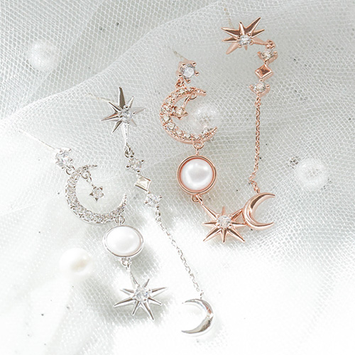 1047847 - <ER1979_DH25> [Silver Post] day Ann anniversary Unbalanced earrings