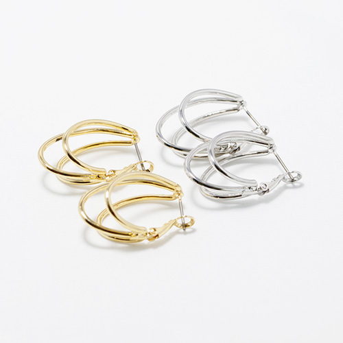 1047878 - <ER1988_DD23> unique 3 line ring earrings