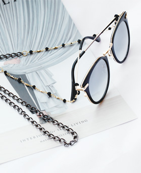 1047900 - <FI150_B> Libya black & gold eyeglass chain
