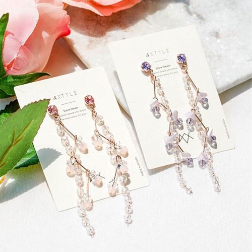 1047917 - <ER2003_DK23> Rib crystal long earrings