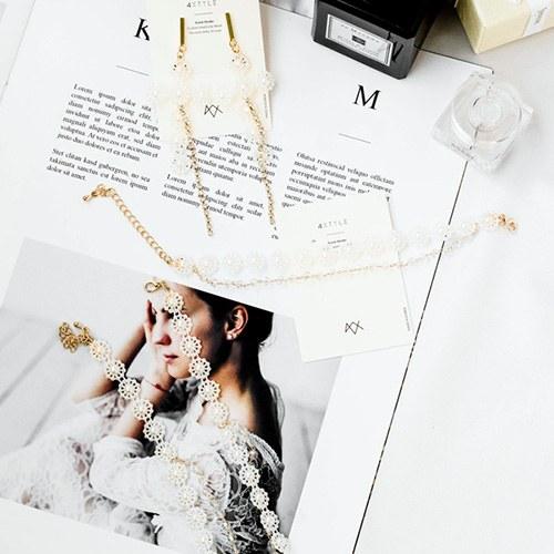 1047933 - <JS328_IF03> [earrings + necklace + bracelet] Ariad pearl Flower set