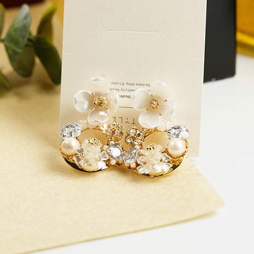 1048047 - <ER2018_CE09> [handmade] belle pearl Flower two-way earrings
