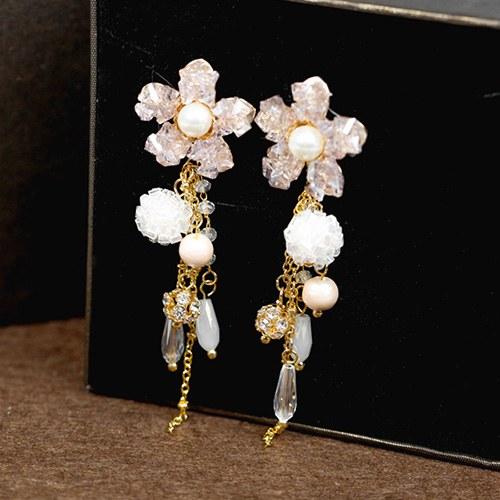 1048069 - <ER2017_CG15> [clip type] [handmade] Mont flower drop earrings