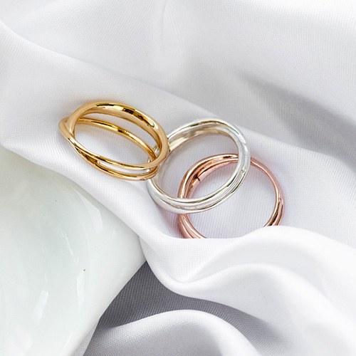 1048150 - <RI847_JJ01> [Silver] bold two line ring