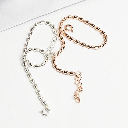 1048169 - <BC792_IH16> [Silver] Semi-bold ball bracelet