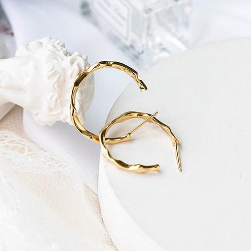 1048196 - <ER2035_DG14> [Silver] simple curve ring earrings