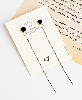 1048202 - <ER2032_IE09> [Silver] nove onyx earrings