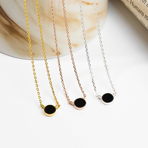 1048203 - <NE546_IE09> [Silver] nove onyx necklace