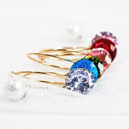 1048115 - <ER2028_GJ15> [10KGold] crystal point ring earrings