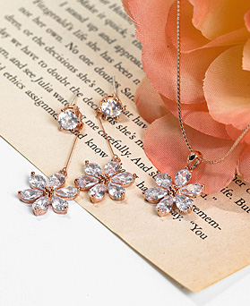 1048298 - <JS335_IH03> [earrings + necklace] merry Flower crystal set