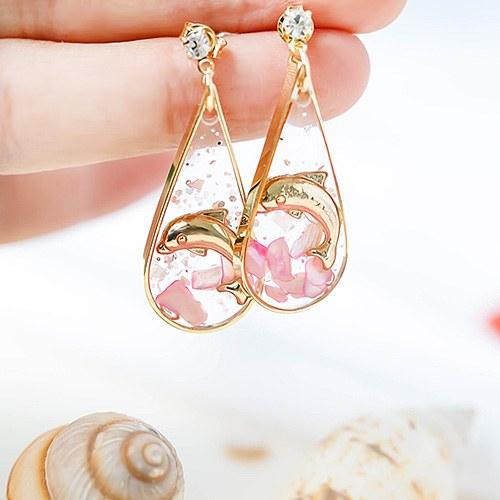 1048303 - <ER2036_DA26> [clip type] [handmade] dolphin tear drop earrings