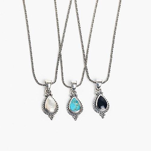 1048325 - <NE557_BB03> [Silver] antique gemstone necklace