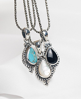 1048325 - <NE557_BB03> [Silver] antique gemstone necklace