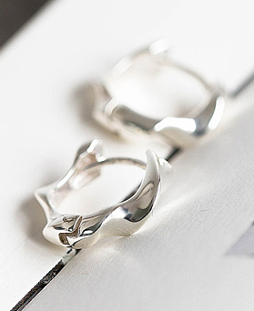 1048326 - <ER2054_DF13> [Silver] day wave ring earrings