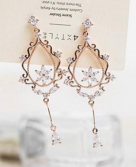 1048341 - <ER2045_DB29> [clip type] Ivy Flower drop earrings