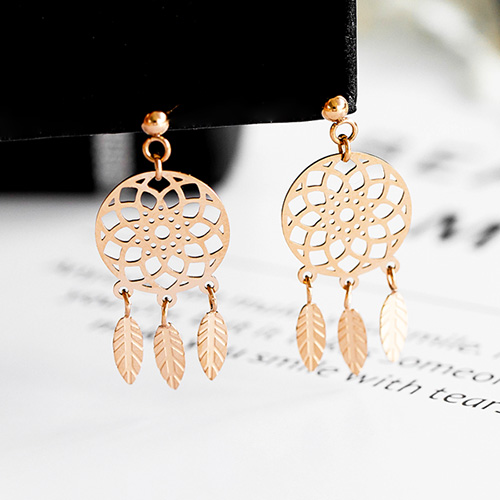 1048347 - <ER2023_DH05> [clip type] [Stainless Steel] sweet dreamcatcher earrings