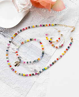 1048351 - <JS337_IF18> [earrings + necklace + bracelet] [handmade] Diane beads crystal set