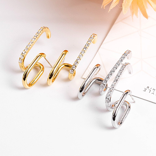 1048400 - <ER2071_DI14> [Silver Post] Dani two line earrings
