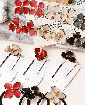 1048476 - <JS340_CB09/FA09> earrings + hairpin + ponytail] Hearts Flower set