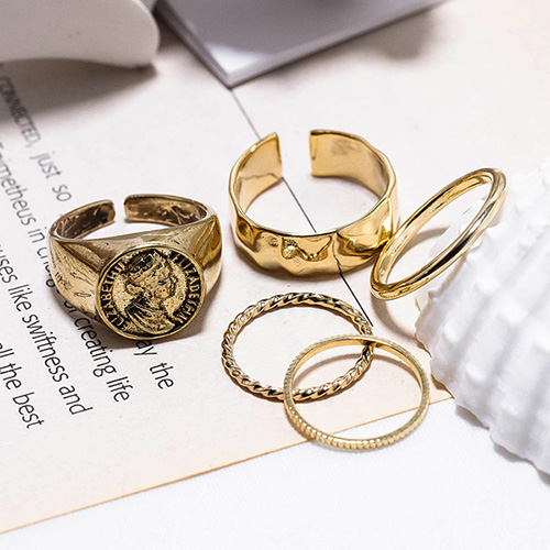 1048578 - <RI858_JB24> [5Piece 1set] antique queen ring