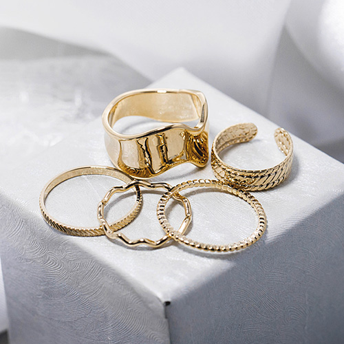 1048584 - <RI859_JA25> [5Piece 1set] Eclat Wave Ring