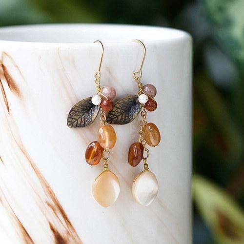 1048588 - <ER2092_DG06> [spring] [handmade] antique Leaf earrings