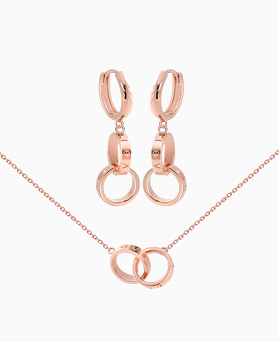 1046378 - <ER1514_IG12> necklace + earrings double ring set